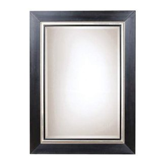 Rectangular Silver Wall Mirror With Beveled Glass