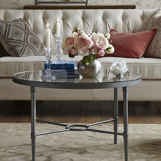 Round Silver Glass and Metal Coffee Table