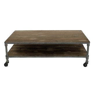 Rustic Gray Iron and Reclaimed Wood Coffee Table