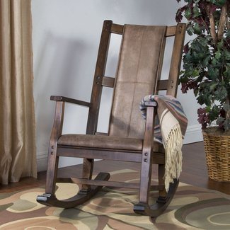 Rustic Leather Rocking Chair