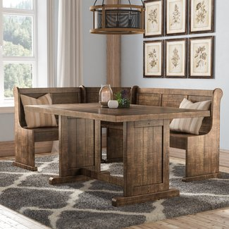 Rustic Natural Breakfast Nook Two Piece Dining Set