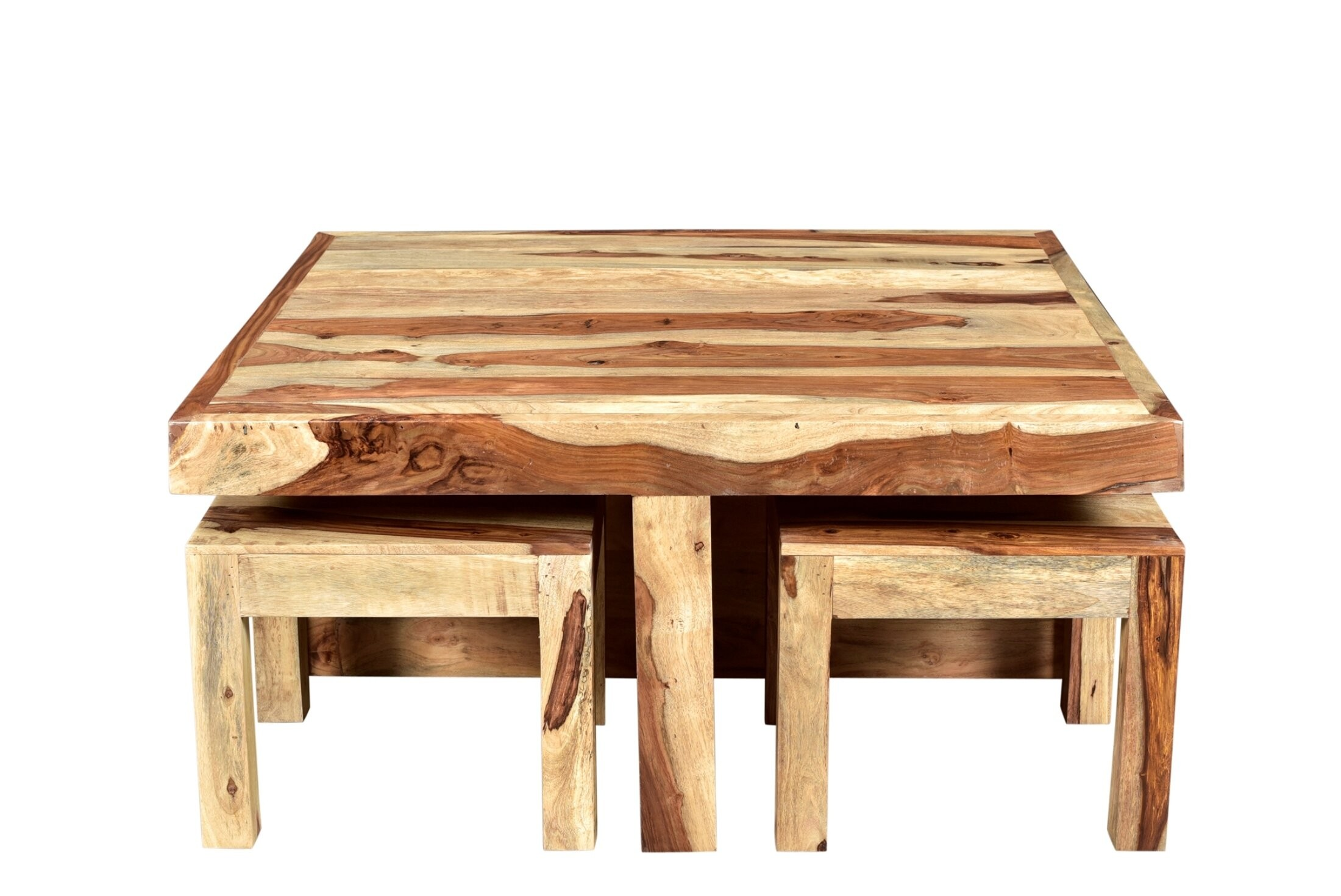 Rustic Pine Wood Coffee Table With Nested Stools