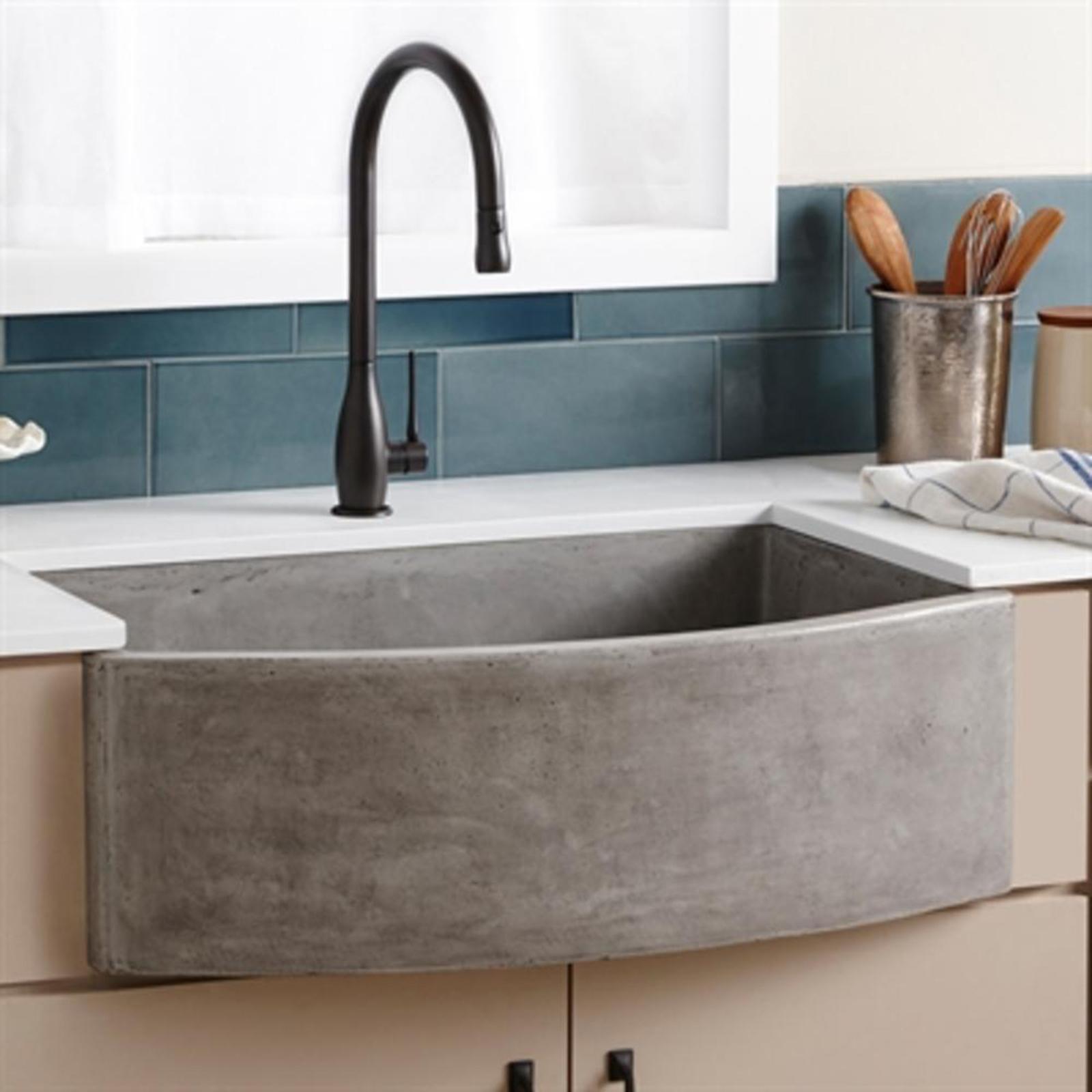 Single Curved Stone Farmhouse Kitchen Sink