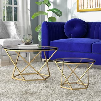 Small Round Metal Coffee Table with Gold Finish