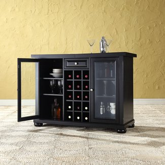 Solid Hardwood Bar Cabinet with Wine Storage