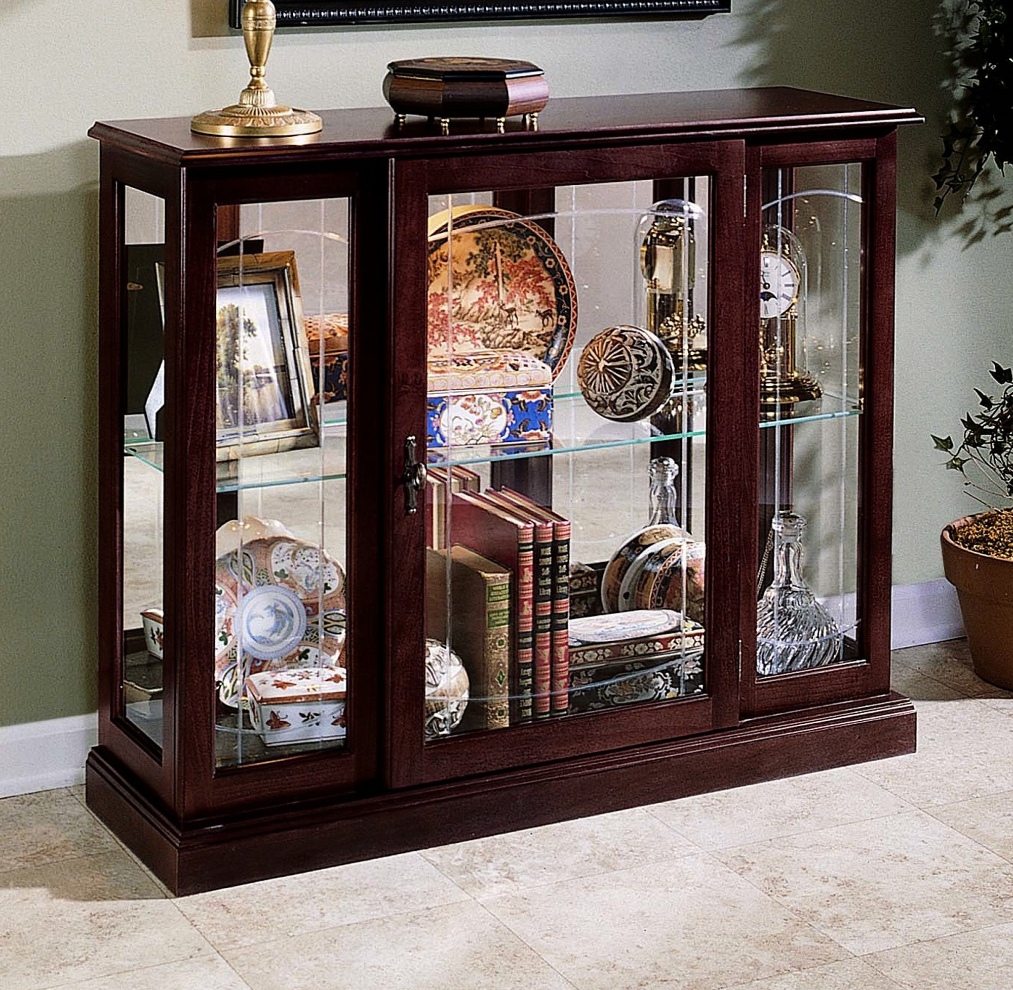 Incroyable Solid Hardwood Console Curio Cabinet
