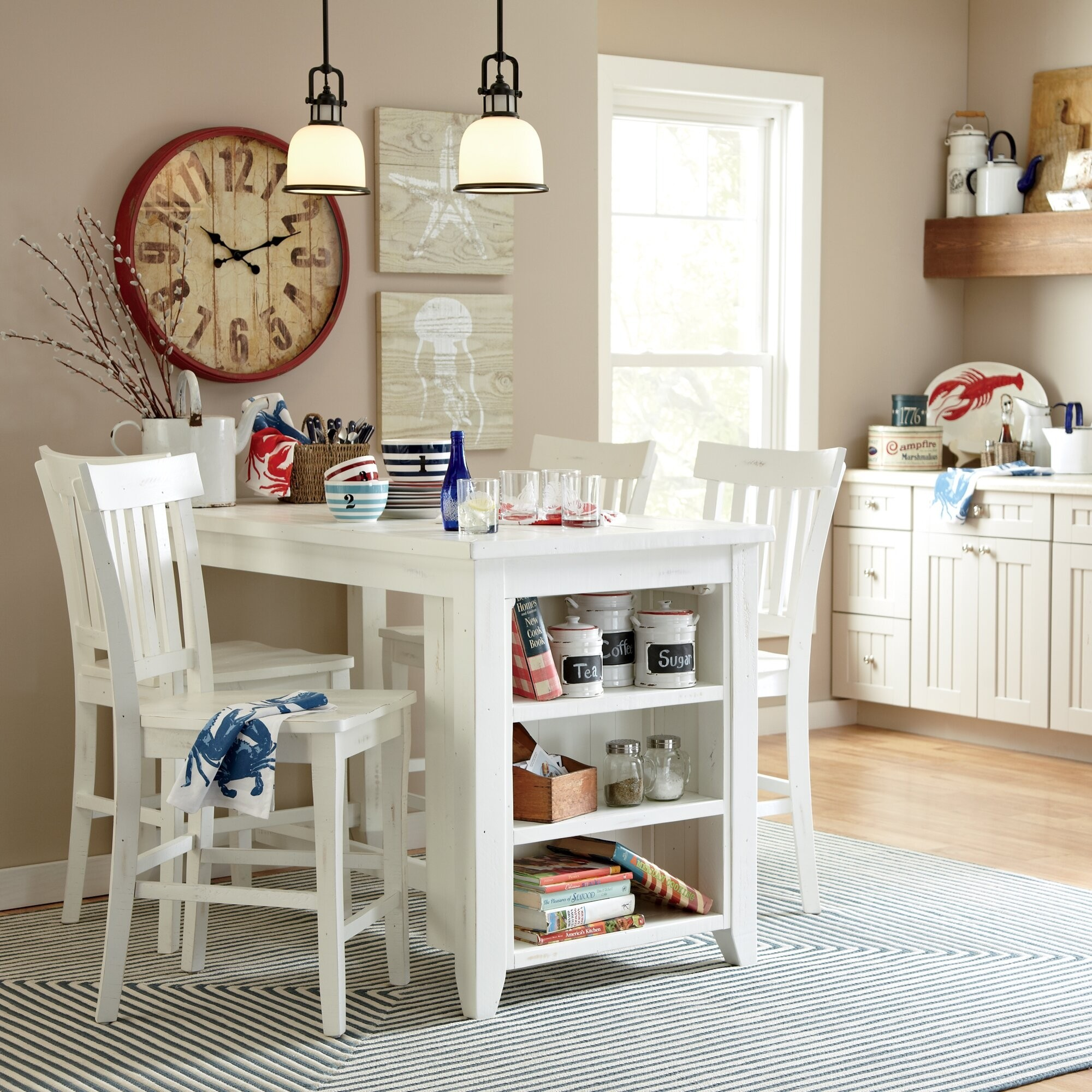 Solid Pine Wood Breakfast Bar & Kitchen Table With Storage Underneath - Ideas on Foter
