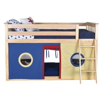 Solid Pine Wood Twin Low Loft Bed With Underbed Curtains