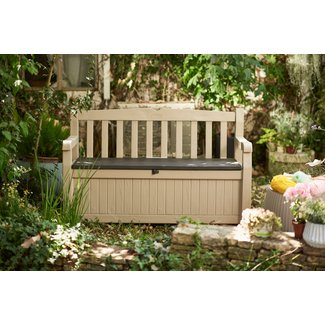 Solid Wood All Weather Resin Storage Bench