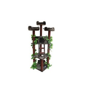 Solid Wood Brown Redwood Cat Tree