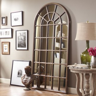 Solid Wood Cathedral Floor Mirror