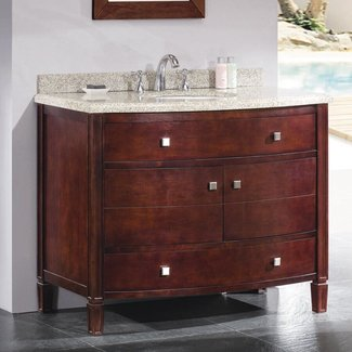 Solid WOod Single Bathroom Vanity Set With Tobacco Finish