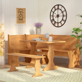 Solid Wood Three Piece Classic Nook Dining Set