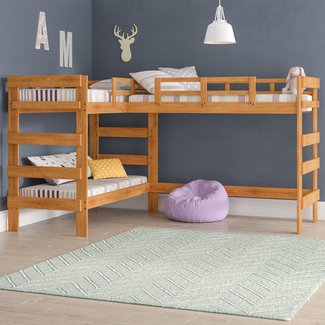 Solid Wood Twin L-Shaped Triple Bunk Bed