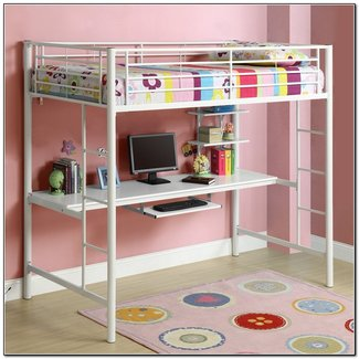 Steel Sturdy Twin Loft Bed With Wood Workstation