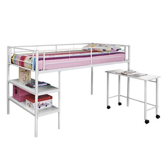 Steel Twin Loft Bed With Shelves