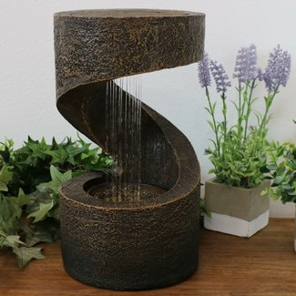 Stonehaven Resin Winding Showers Tabletop Water Fountain with LED Light