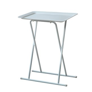 Sturdy Metal Folding Snack Table With Plastic Tray