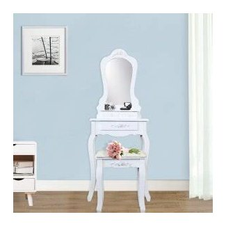 Three Drawer Vanity Set With Mirror And Included Stool