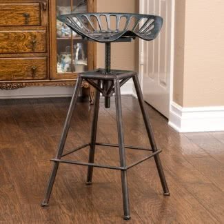 Tractor Seat Industrial Barstool With Adjustable Height