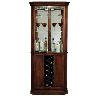 Traditional Corner Wine Cabinet With Mirrored Back