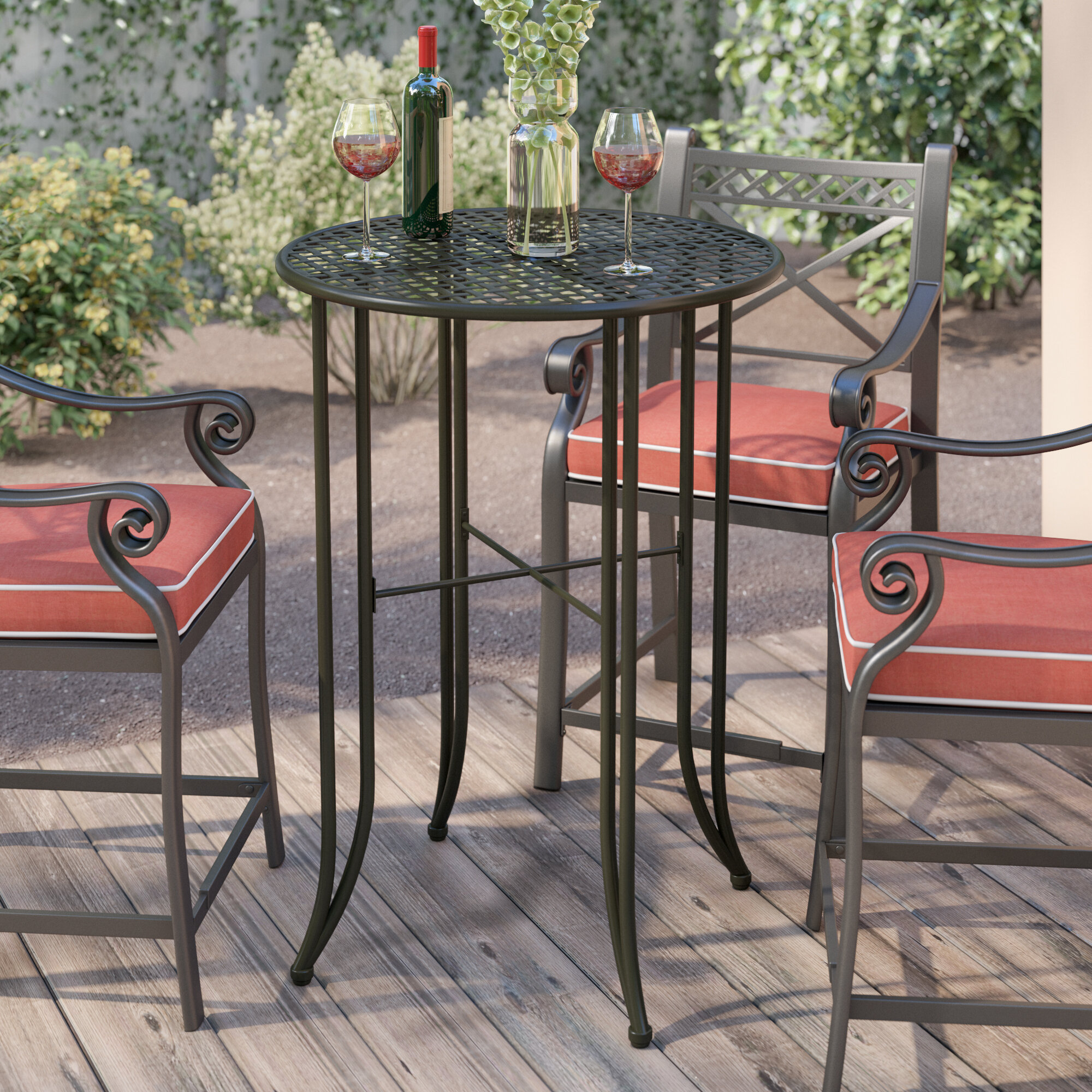 Traditional Iron Patio Bar Table