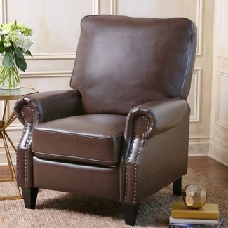 Traditional Manual Recliner With Metal Buttons