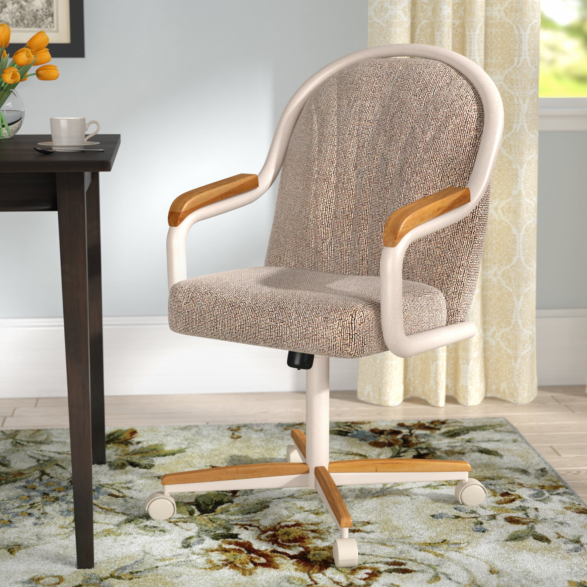 Traditional Mid-Back Dining Chair with Arms and Wheels