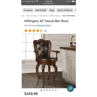 Traditional Swivel Barstool With Faux Leather Lining