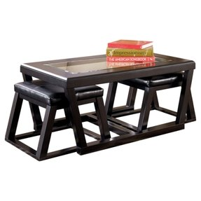 Trapezoid Glass Coffee Table With Two Stools