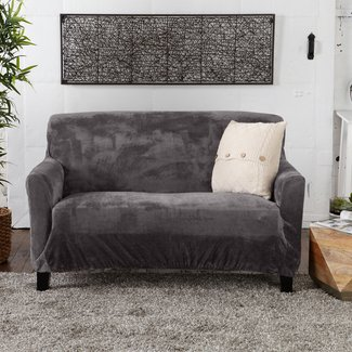 Velvet Plush Form Fit Box Cushion Loveseat Slipcover