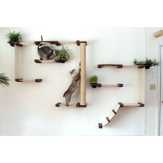 Wall Mounted Multiple Level Hammock And Climbing Activity Center For Cats