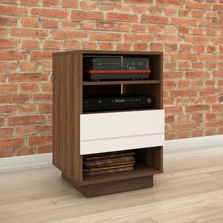 Walnut And Charcoal Wood Audio Cabinet