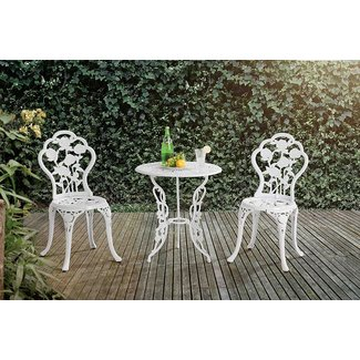 White Aluminum and Cast Iron 3-Piece Bistro Set