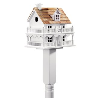 White Cape Cod Post-Mounted Birdhouse