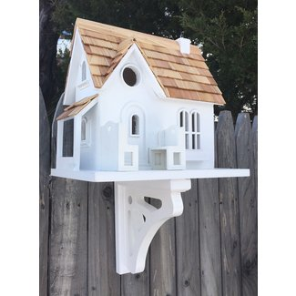 White Cottage-Style Wall-Mounted Birdhouse