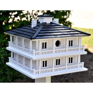 White Post-Mounted Hardwood Birdhouse