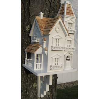 White Victorian-Style Wood Birdhouse