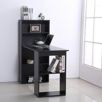 Wilclay Computer Floating Desk with Bookcase