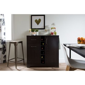 With some elegant brushed nickel finish hardware and numerous convenient drawers for storage, you simply cannot go wrong with this modern liquor cabinet. This cabinet has a sturdy vinyl construction with an oak finish that gives it an attractive contempor