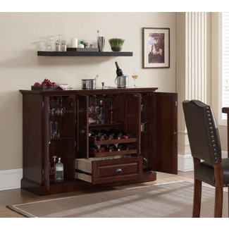 Wood Bar Cabinet With Wine Storage