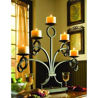 Wrought Iron Candle Holder In Black