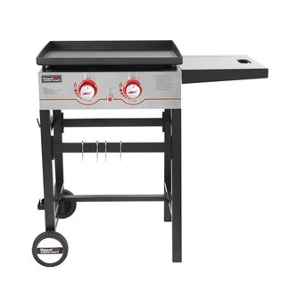 2-Burner Flat Top Propane Gas Grill with Side Table
