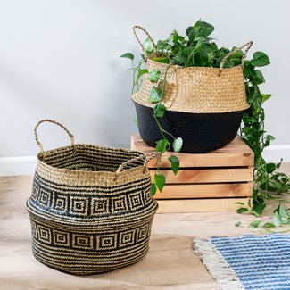 2 Piece Belly Rattan Basket Set