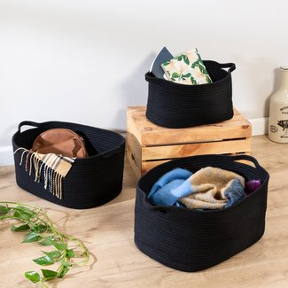 3 Piece Fabric Basket Set