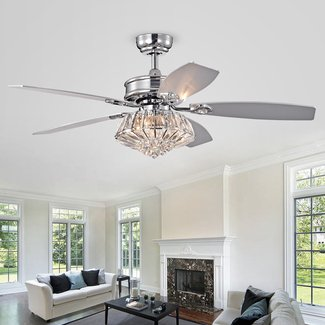 "48"" Steadman Reversible 5 Blade Ceiling Fan with Remote, Light Kit Included"