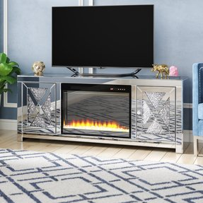 "Abe TV Stand for TVs up to 65"" with Fireplace Included"