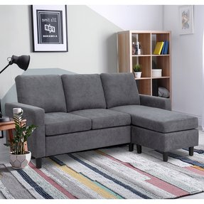 "Andrey 76.77"" Reversible Modular Sectional with Ottoman"