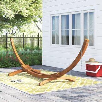 Angela Curved Arc Wood Hammock Stand