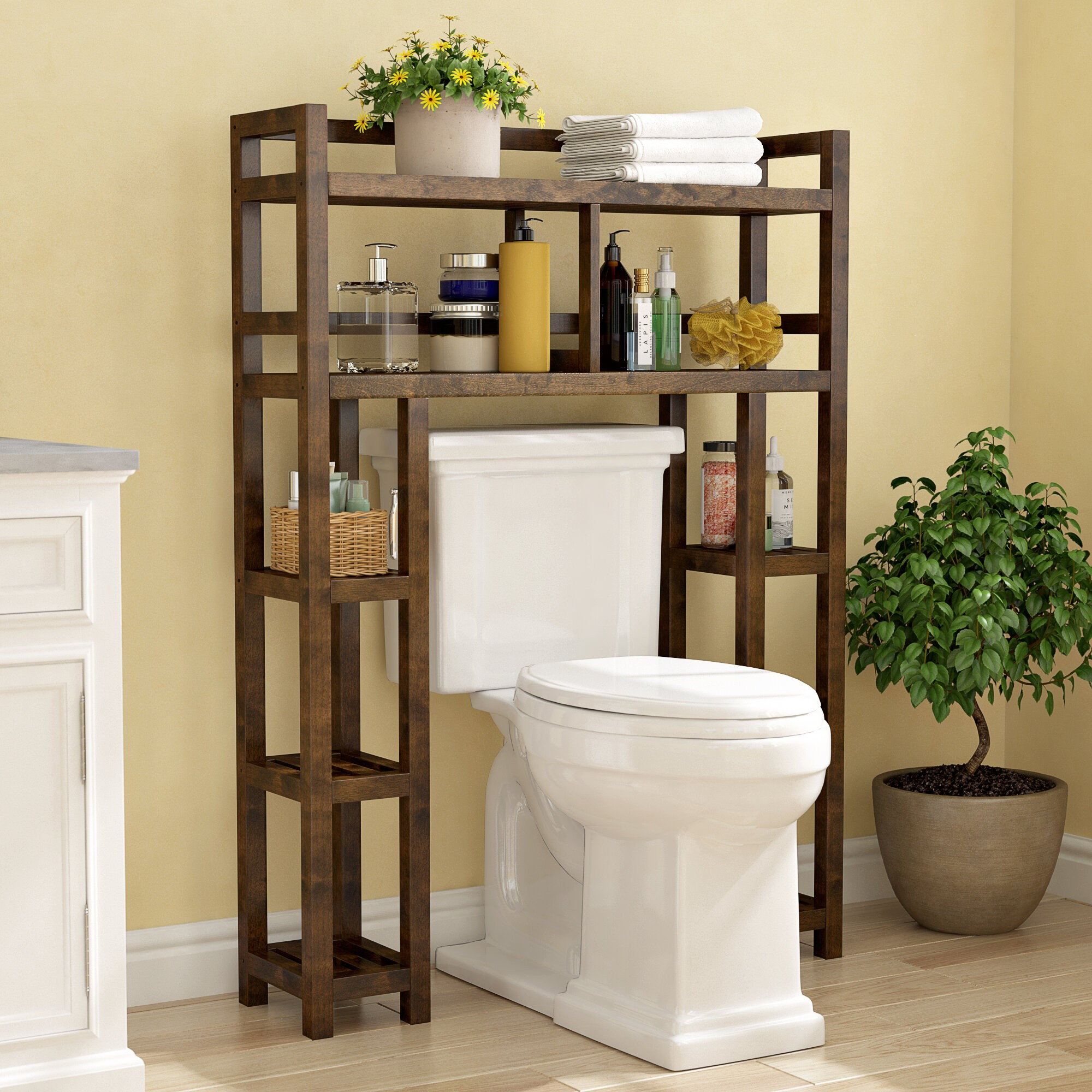"Bernardston 34.46"" W x 48"" H x 9"" D Solid Wood Over-the-Toilet Storage"